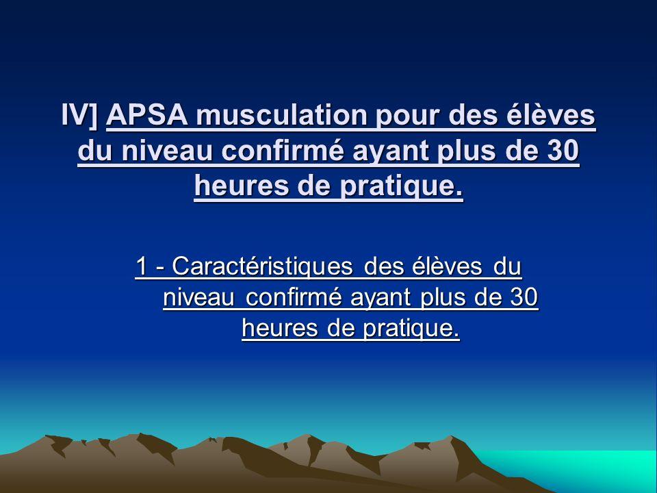 IV] APSA musculation pour des élèves du niveau confirmé ayant plus de 30 heures de pratique.
